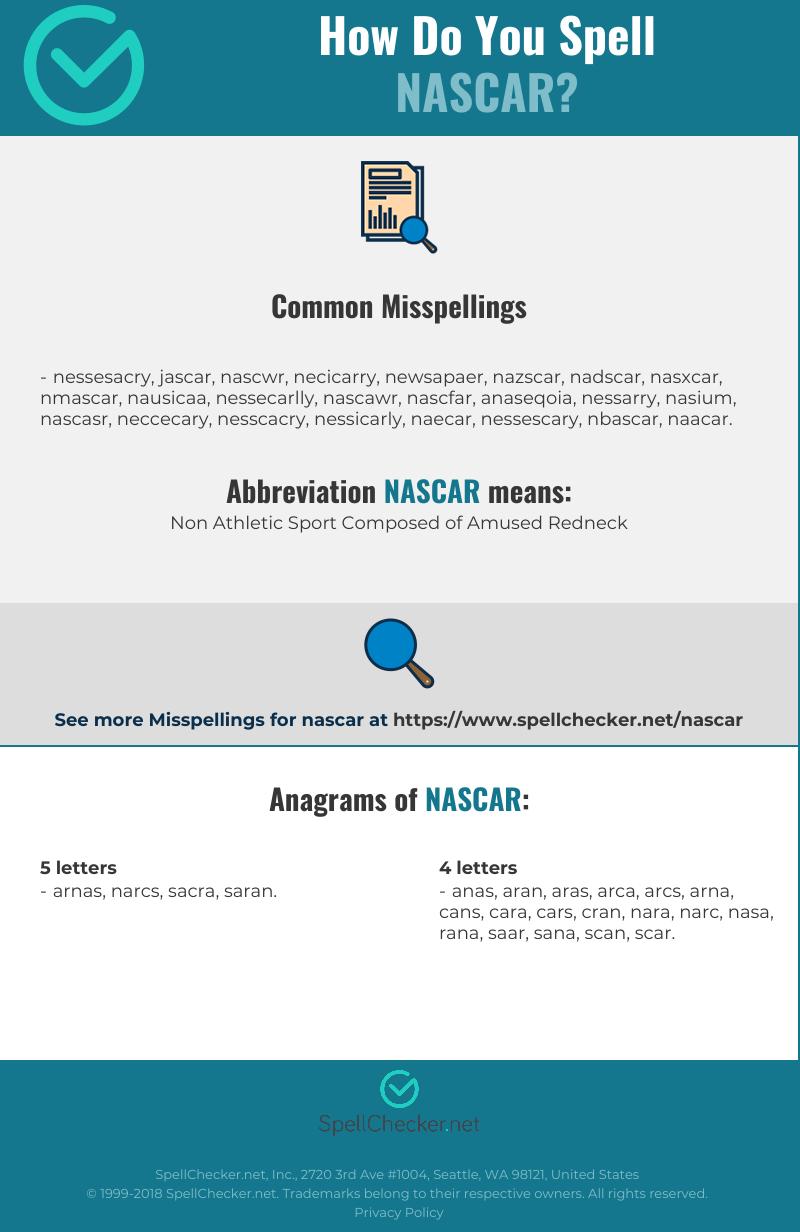 Correct Spelling For Nascar Infographic Spellchecker Net