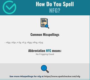 Correct spelling for NFG