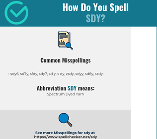 Correct spelling for SDY