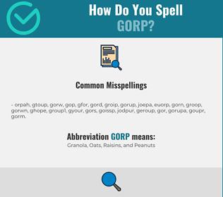 Correct spelling for GORP