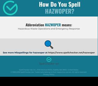 Correct spelling for HAZWOPER