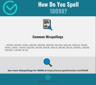 Correct spelling for 18098