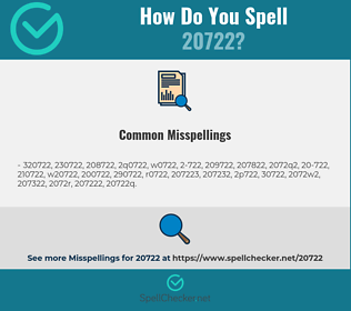 Correct spelling for 20722
