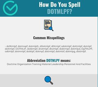 Correct spelling for DOTMLPF