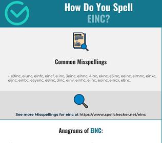 Correct spelling for EINC