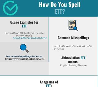 Correct spelling for ETT