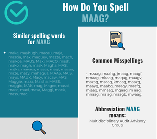Correct spelling for MAAG