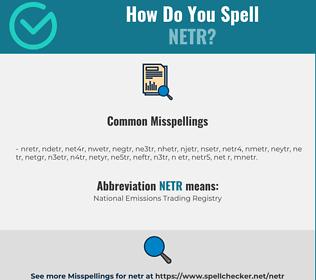 Correct spelling for NETR