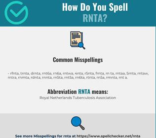 Correct spelling for RNTA
