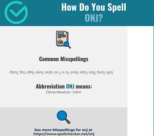 Correct spelling for ONJ