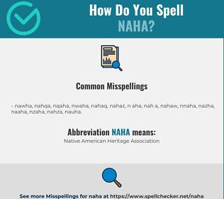 Correct spelling for NAHA