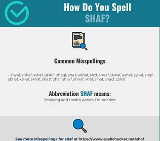 Correct spelling for SHAF