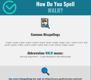 Correct spelling for WALR