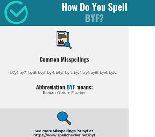 Correct spelling for BYF