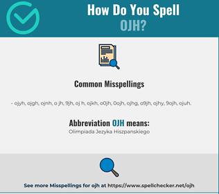 Correct spelling for OJH