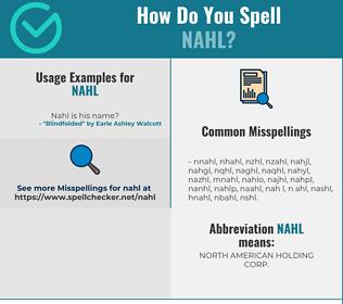 Correct spelling for NAHL