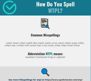 Correct spelling for WTPL