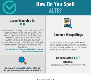 Correct spelling for ALTE