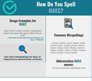 Correct spelling for HAEC