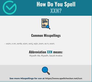Correct spelling for XXN