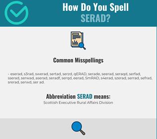 Correct spelling for SERAD