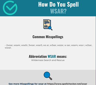 Correct spelling for WSAR