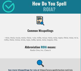 Correct spelling for ROIA