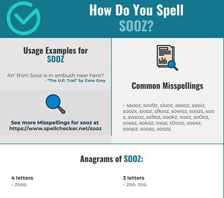 Correct spelling for SOOZ