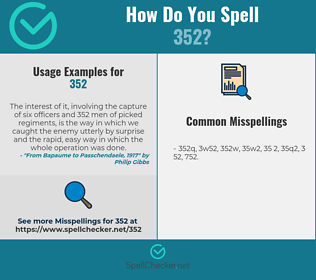 Correct spelling for 352