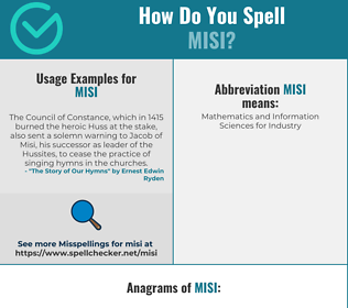 Correct spelling for MISI