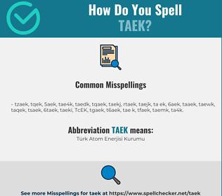 Correct spelling for TAEK