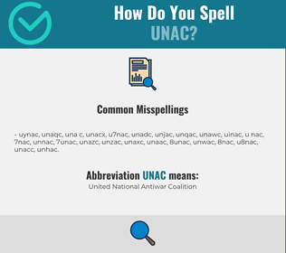 Correct spelling for UNAC