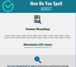 Correct spelling for ADGI