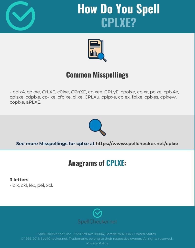 Correct spelling for CPLXE [Infographic] | Spellchecker net