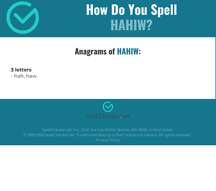 Correct spelling for HAHIW