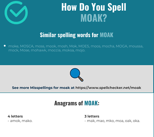 Correct spelling for MOAK