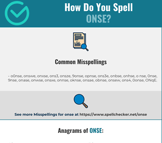 Correct spelling for ONSE
