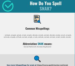 Correct spelling for SNAK