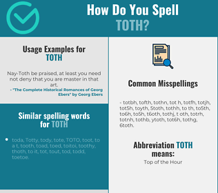 Correct spelling for TOTH