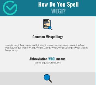 Correct spelling for WEGI