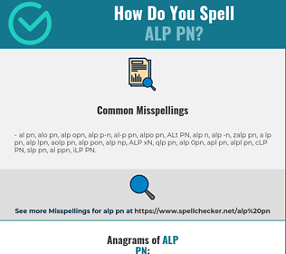 Correct spelling for ALP PN