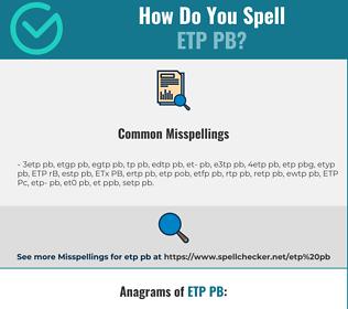 Correct spelling for ETP PB