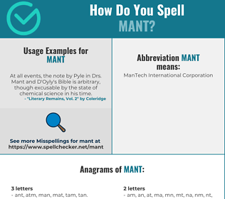 Correct spelling for MANT