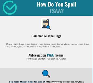 Correct spelling for TSAA