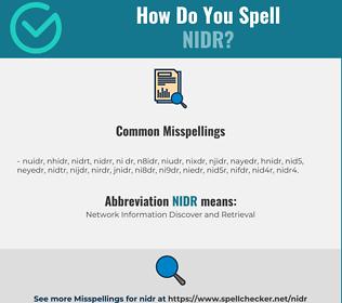Correct spelling for NIDR