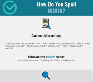 Correct spelling for NIDRR