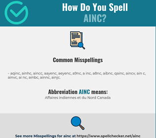 Correct spelling for AINC