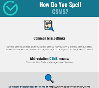 Correct spelling for CSMS