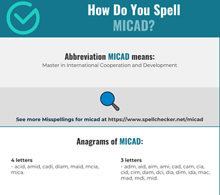 Correct spelling for MICAD
