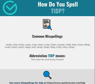 Correct spelling for TIDP
